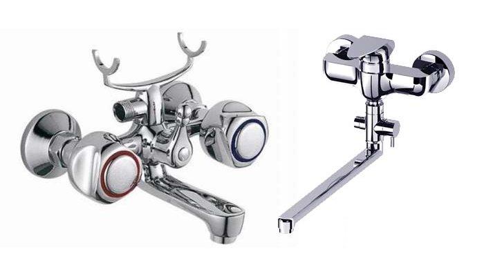 Основные типы смесителей для установки в ванную - двухвентильный и рычажный