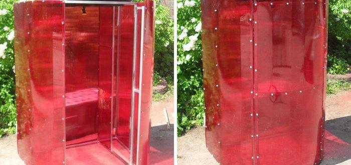 Летний дачный душ из поликарбоната удобен и практичен