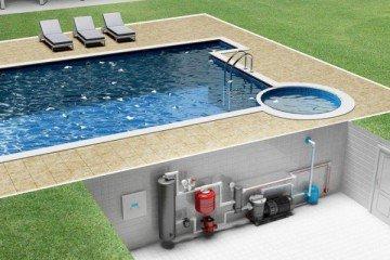Подогрев бассейна тепловым насосом из комнаты ниже