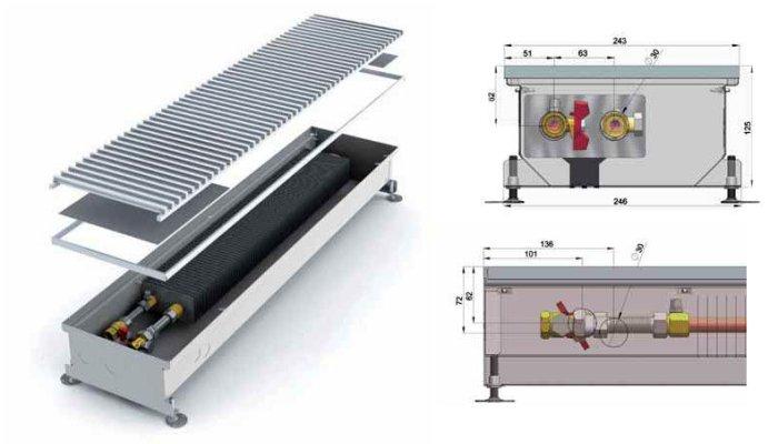 Конструкция водяных конвекторов отопления, встраиваемых в пол