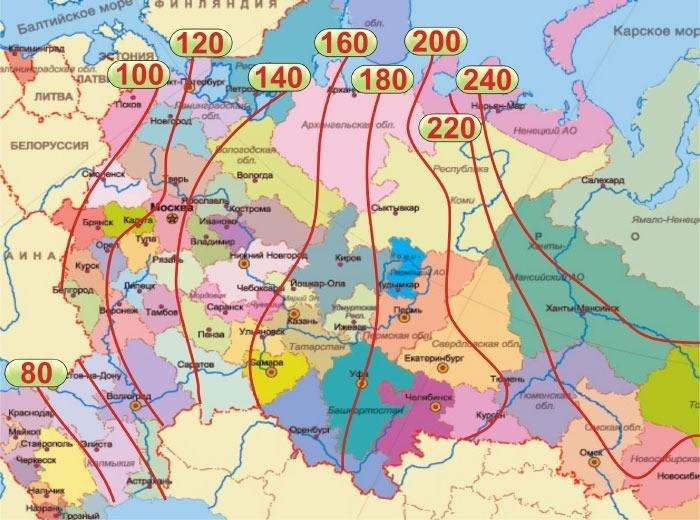 Схема глубины промерзания почвы для разных регионов РФ