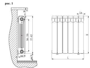 Схема конструкции алюминиевого радиатора отопления