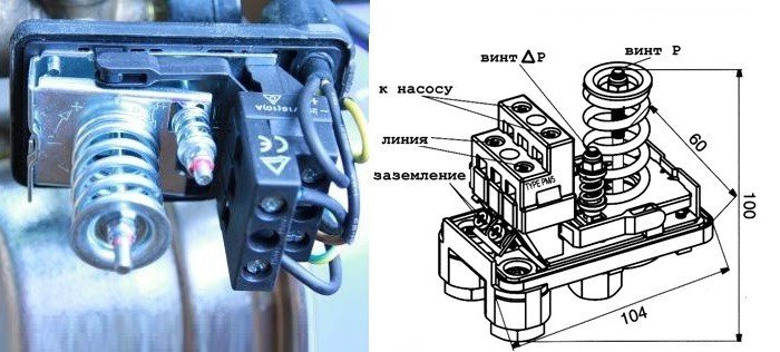 Схема устройства датчика давления воды для насосов