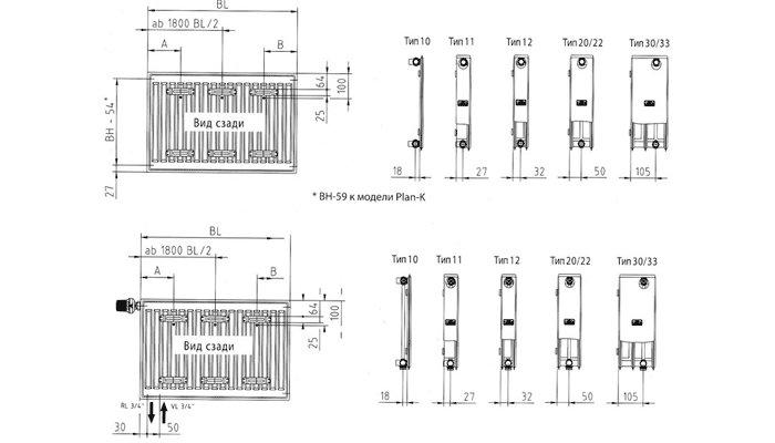 Схемы разных типов панельных тальных радиаторов
