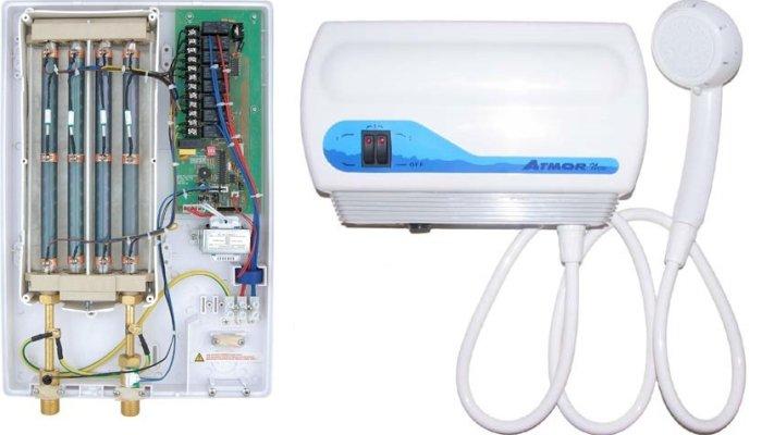 Устройство проточного электрического водонагревателя на душ