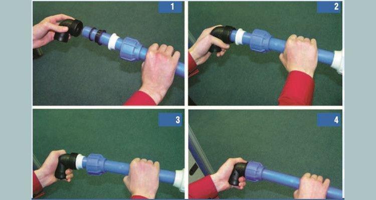 Схема соединения ПНД трубы и компрессионного фитинга